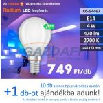 Bec Led RADIUM LED filament, E14, 4W, 470Lm, 240V, 2700K, opal