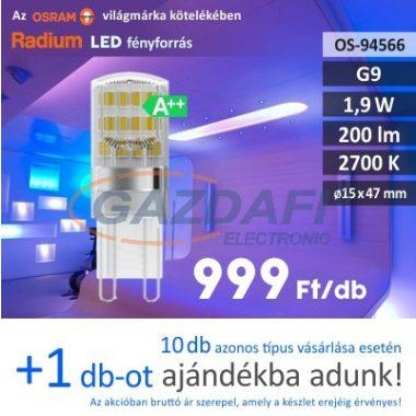RADIUM LED fényforrás, G9, 1.9W, 200Lm, 240V, 2700K, opál búra