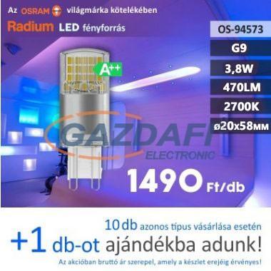 RADIUM LED fényforrás, G9, 3.8W, 470Lm, 240V, 2700K, opál búra