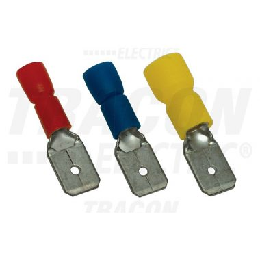 TRACON PCS6 Szigetelt rátolható csatlakozó csap, sárgaréz, piros 6,3×0,8mm, 1,5mm2