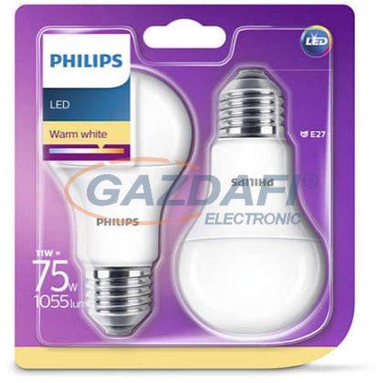 PHILIPS 8718696586112 11W E27 Classic izzó A60 LED fényforrás  2db/csomag