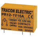 TRACON PR12-1V16A Print relé 12V DC / 1×CO (16A, 230V AC / 30V DC)