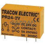 TRACON PR24-2V Print relé 24V DC / 2×CO (5A, 230V AC / 30V DC)