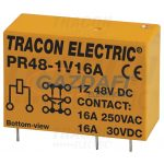 TRACON PR48-1V16A Print relé 48V DC / 1×CO (16A, 230V AC / 30V DC)
