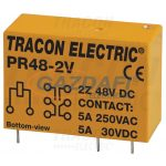 TRACON PR48-2V Print relé 48V DC / 2×CO (5A, 230V AC / 30V DC)