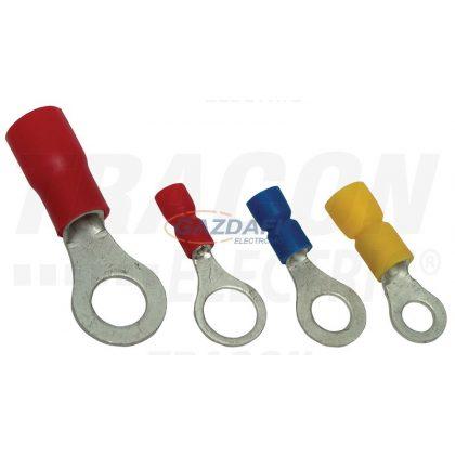 TRACON PSZ10-6 Szigetelt szemes saru, ónozott elektrolitréz, piros 10mm2, M6, (d1=4,5mm, d2=6,4mm),PVC