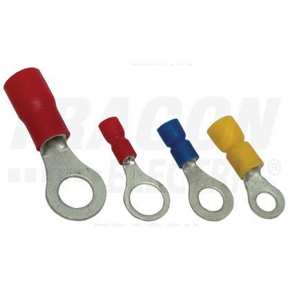 TRACON PSZ10 Szigetelt szemes saru, ónozott elektrolitréz, piros 1,5mm2, M10, (d1=1,7mm, d2=10,5mm), PVC