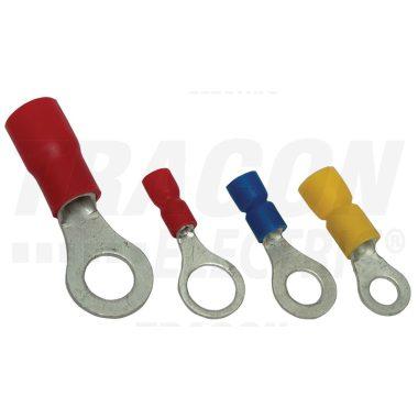 TRACON PSZ3 Szigetelt szemes saru, ónozott elektrolitréz, piros 1,5mm2,M3, (d1=1,7mm, d2=3,7mm), PVC