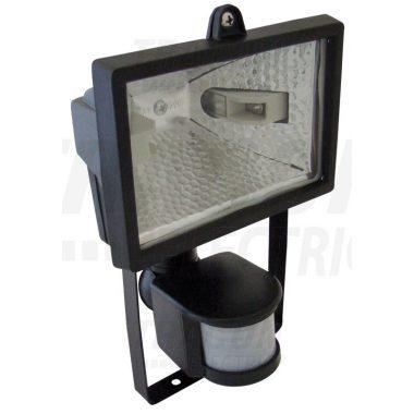TRACON RM-500W Halogén fényvető mozgásérzékelővel, fekete R7s, max.500W, 118mm, IP54, 3-12m, 5s-8min, EEI=A++,A+,C,D,E
