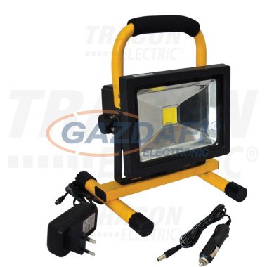 TRACON RSMDACC20W Hordozható akkumulátoros LED fényvető 20W, 4500K, IP65, 100-240V AC, 1400lm, EEI=A