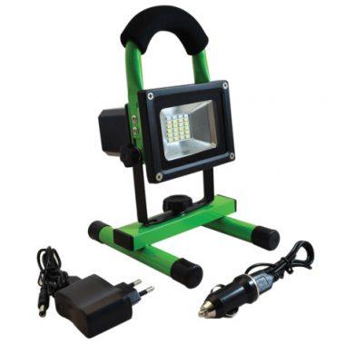 TRACON RSMDAE10W Hordozható akkumulátoros LED fényvető vészjelzővel+USB töltő 110-240 VAC; 10 W; IP54; 3,7 V; 4Ah; 600 lm, EEI=A