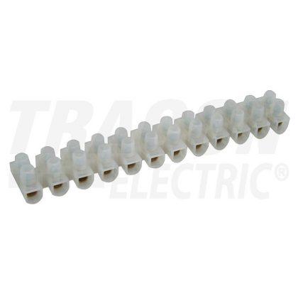TRACON S10A-H-L Flex. nyomólemezes sorozatkapocs, H profil, 12 tag, natúr 6mm2, 450VAC, 40A, PP