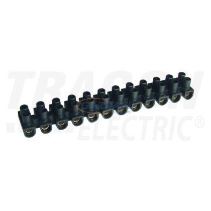 TRACON SF10A-H-L Flex. nyomólemezes sorozatkapocs, H profil, 12 tag, fekete 6mm2, 450VAC, 40A, PP