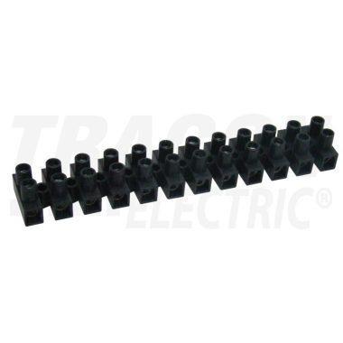 TRACON SF10A-U Flexibilis sorozatkapocs, U profil, 12 tag, fekete 6mm2, 450VAC, 40A, PE