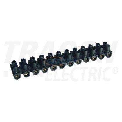 TRACON SF60A-U Flexibilis sorozatkapocs, U profil, 12 tag, fekete 25mm2, 450V, 80A, PE