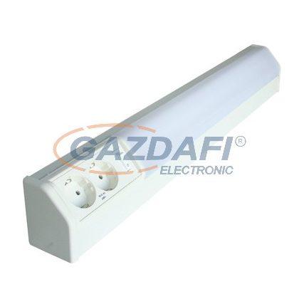 Fénycsöves bútorvilágító kapcsolóval és 2db 2P+F csatlakozó aljzattal 10W