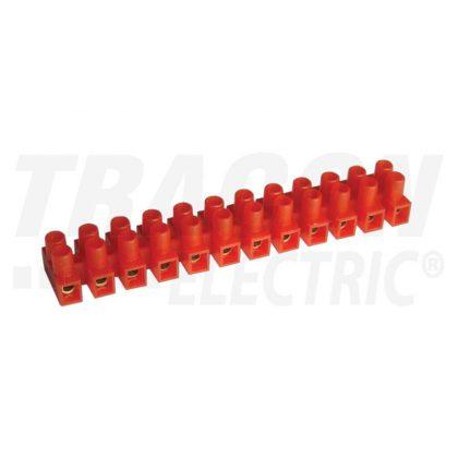 TRACON SP10A-U Flexibilis sorozatkapocs, U profil, 12 tag, piros 6mm2, 450VAC, 40A, PE