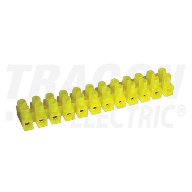 TRACON SS10A-U Flexibilis sorozatkapocs, U profil, 12 tag, sárga 6mm2, 450VAC, 40A, PE