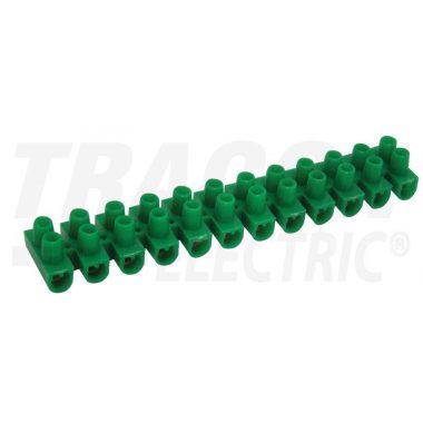 TRACON SZ15A-U Flexibilis sorozatkapocs, U profil, 12 tag, zöld 10mm2, 450VAC, 50A, PE