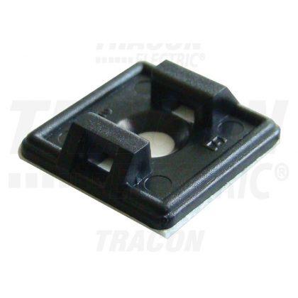 TRACON TALP191-2 Öntapadós/csavarozható, 2oldalt fűzhető kötegelő talp,fekete 18,7×18,7mm, d=4,4mm,PA6.6