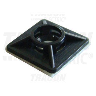 TRACON TALP191 Öntapadós/csavarozható, 4oldalt fűzhető kötegelő talp,fekete 20×20mm, d=2,9mm, PA6.6