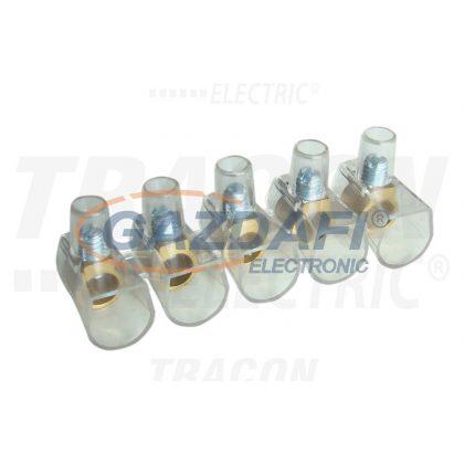 TRACON TBT-16 Csavaros csatlakozó, átlátszó házzal, 5 tagú, 1 csavar 5×16mm2, 450VAC