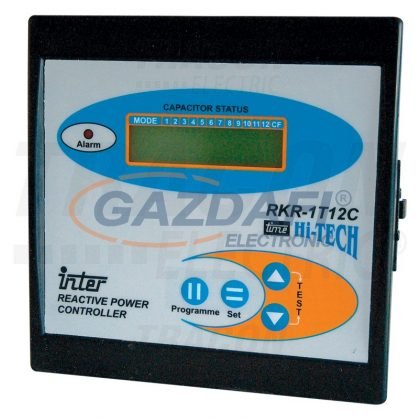 TRACON TFJA-02 Fázisjavító automatika, egyfázisú, 12 kondenzátor telephez 144×144mm