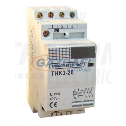 TRACON THK2-40-24 Installációs kontaktor 230V, 50Hz, 2P, 2×NO, 40/15A, 8,4/2,4kW, 24V AC