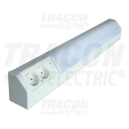 TRACON TLFL-10 Fénycsöves lámpatest dupla dugaszolóaljzattal 230V, 50Hz, T8, G13, 10W, 10A, EEI=A