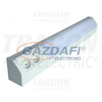 TRACON TLFL-10F Fénycsöves lámpatest dupla csapos dugaszolóaljzattal 230V, 50Hz, T8, G13, 10W, 10A, EEI=A