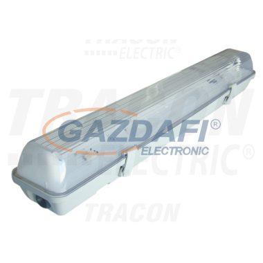 TRACON TLFV-118M Fénycsöves védett lámpatest magnetikus előtéttel 230V, 50Hz, T8, G13, 1×18 W, IP65, ABS/PC, B2, EEI=A