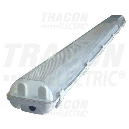 TRACON TLFV-158M Fénycsöves védett lámpatest magnetikus előtéttel 230V, 50Hz, T8, G13, 1×58 W, IP65, ABS/PC, B2, EEI=A