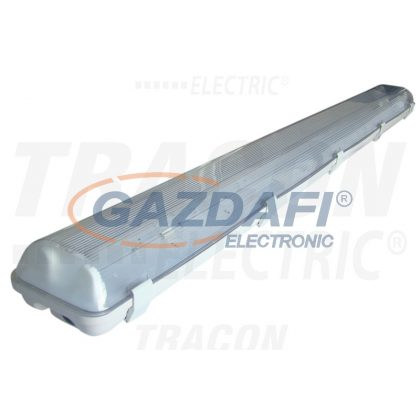 TRACON TLFV-236M Fénycsöves védett lámpatest magnetikus előtéttel 230V, 50Hz, T8, G13, 2×36 W, IP65, ABS/PC, B2, EEI=A