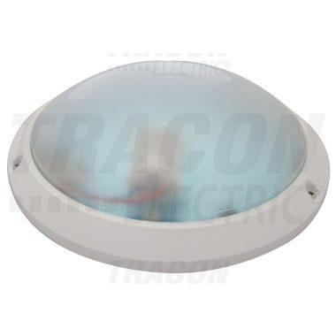 TRACON TLKVL-E27 Védett kerek falilámpa, lapos, opál bura, fehér 230V, 50Hz, max. 1×60W, E27, IP54