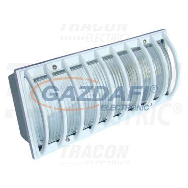 TRACON TLVS-04 Oldalfali járdavilágító lámpatest, domború ráccsal, fehér 230V, 50Hz, E27, max.60W, IP54