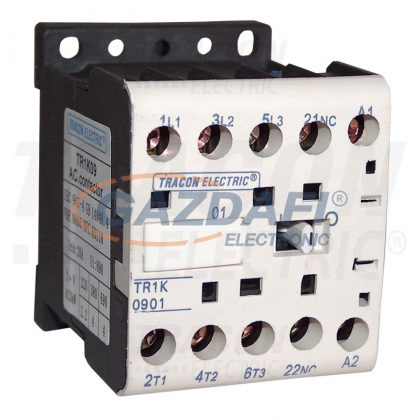 TRACON TR1K0601 Segédkontaktor 660V, 50Hz, 6A, 2,2kW, 230V AC, 3×NO+1×NC
