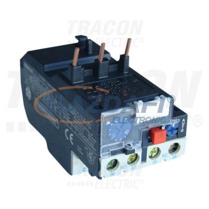 TRACON TR2HD1304 Termikus túláramvédelmi relé TR1D segédkontaktorokhoz 690V, 0-400Hz, 0,4-0,63A, 1×NC+1×NO