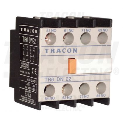 TRACON TR6DN04 Homlokoldali segédérintkező TR1D/F és TR1E kontaktorokhoz 230V, 50Hz, 2A, 4×NC