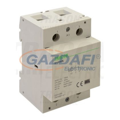 TRACON EVOHK2-80 Installációs kontaktor230V, 50Hz, 3 Mod, 2×NO, AC1/AC7a, 80A,