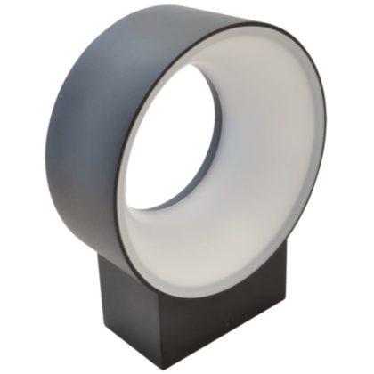 TRACON GLOO8NW Járdavilágító kör alakú LED fali lámpatest, fekete 200-240VAC, 8W, 650 lm, 4000K, IP65, EEI=A