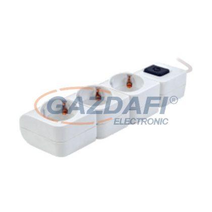 TRACON HKD-3 Hordozható elosztósáv kapcsolóval, fehér3×SCHUKO, 1,4m, max.16A, 250VAC, 3680W, 3x1,5mm2, H05VV-F