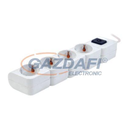 TRACON HKD-4 Hordozható elosztósáv kapcsolóval, fehér4×SCHUKO, 1,4m, max.16A, 250VAC, 3680W, 3x1,5mm2, H05VV-F