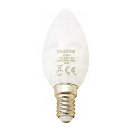 TRACON LGY8NW Gyertya burájú LED fényforrás, tejüveg 230V, 50Hz, 8W, 4000K, E14, 570lm, 250°