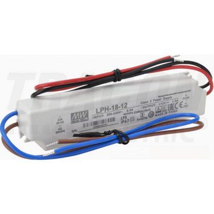 TRACON LPH-18-12 Műanyag házas LED meghajtó 180-264 VAC / 12 VDC; 18 W; 0-1,5 A; IP67
