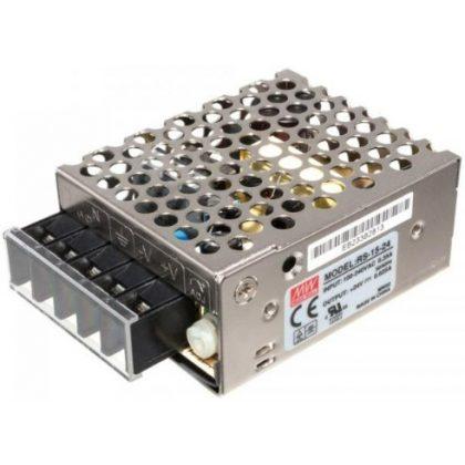 TRACON RS-15-24 Fém házas LED meghajtó szalagokhoz, szabályozható DC kimenet 85-264 VAC / 24 VDC; 15 W; 0-6,25 A