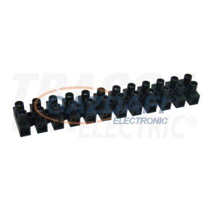 TRACON SF60A-H Flexibilis sorozatkapocs, H profil, 12 tag, fekete25mm2, 450VAC, 80A, PP