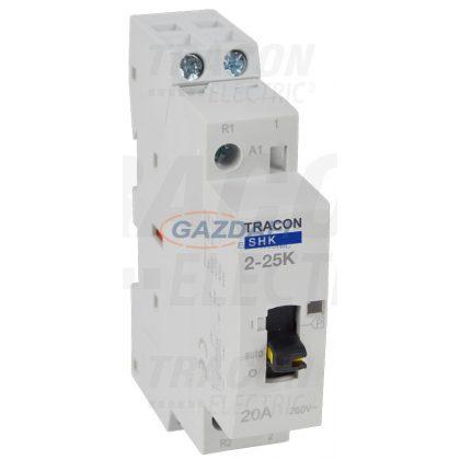 TRACON SHK2-25K Installációs kontaktor 230V AC, 50Hz, 1 Mod, 2×NO, AC1/AC7a, 25A