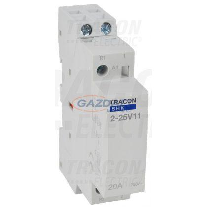 TRACON SHK2-25V11 Installációs kontaktor 230V AC, 50Hz, 1 Mod, 1×NO+1×NC, AC1/AC7a 25A