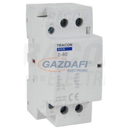 TRACON SHK2-40 Installációs kontaktor 230V AC, 50Hz, 2 Mod, 2×NO, AC1/AC7a, 40A