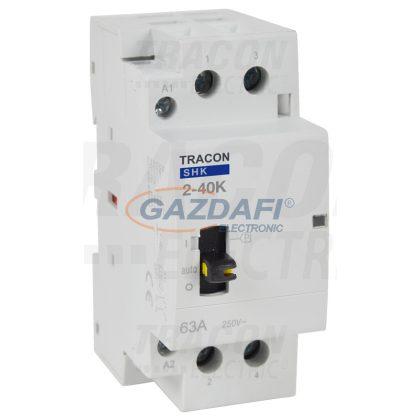 TRACON SHK2-40K Installációs kontaktor 230V AC, 50Hz, 2 Mod, 2×NO, AC1/AC7a, 40A